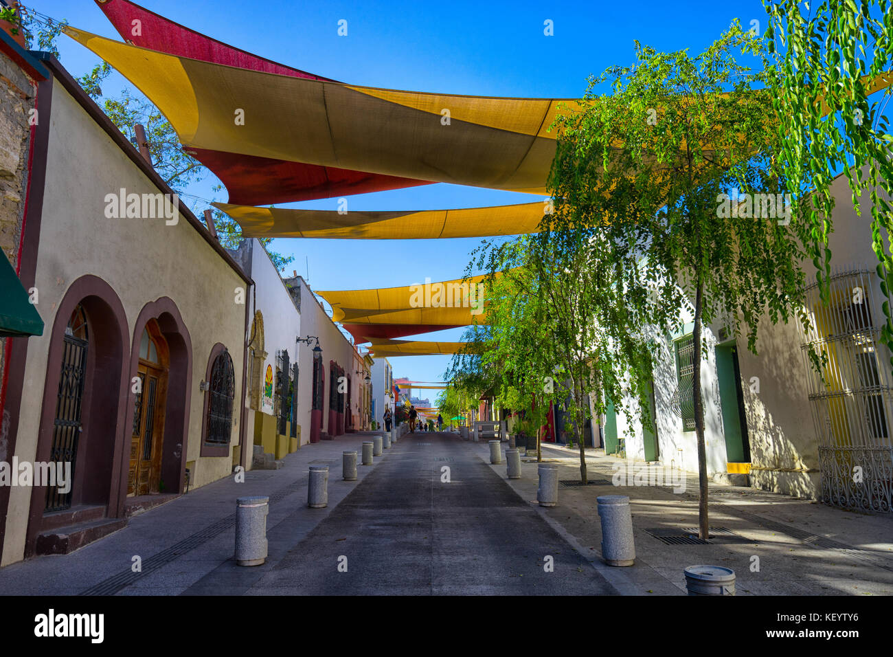 January 16, 2016 Monterrey, Mexico: shade installed over the street in the historic old town called 'Barrio - Stock Image