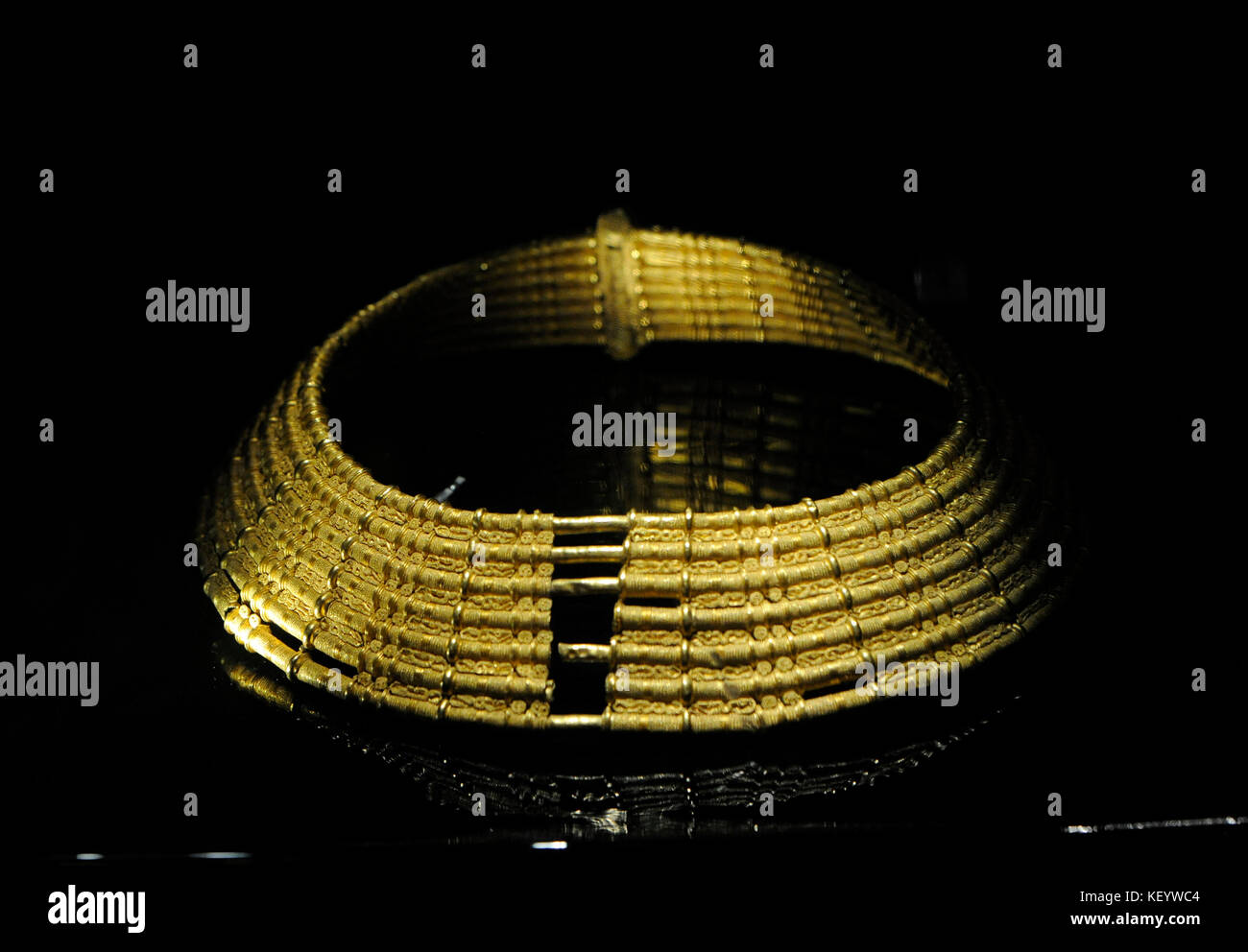 Viking gold collar with seven rings. 7th century. Migration period. From Vastergotland. Sweden. Historical Museum. Stockholm. Sweden. Stock Photo