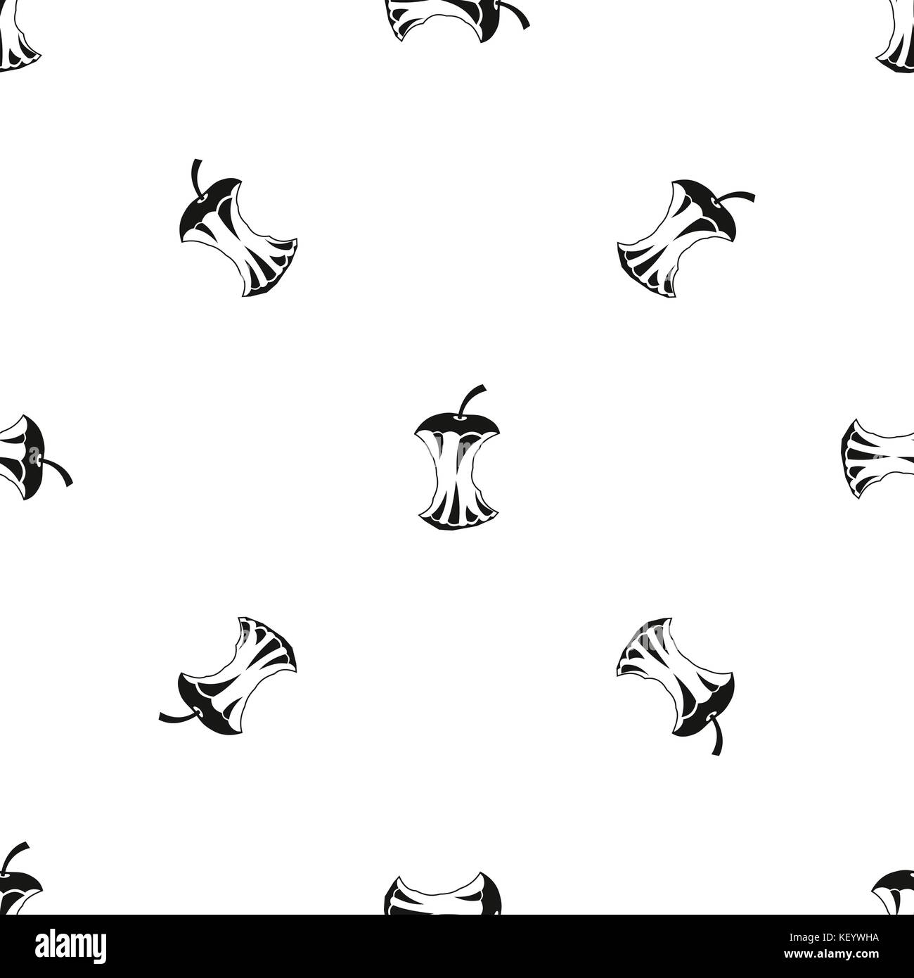 Apple core pattern seamless black - Stock Image