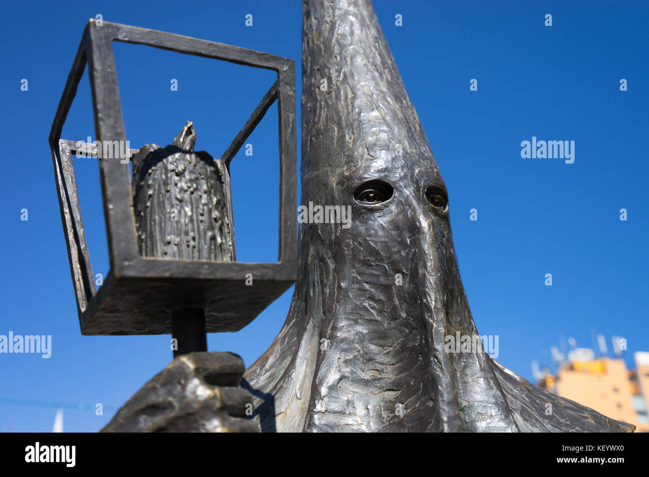 January 18, 2016 San Luis Potosi, Mexico: Procesion del Silencio Statue in front of San Luis cathedral in the colonial - Stock Image