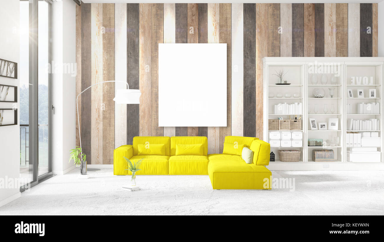 Yellow Room Minimalist Empty Space Stock Photos & Yellow Room ...