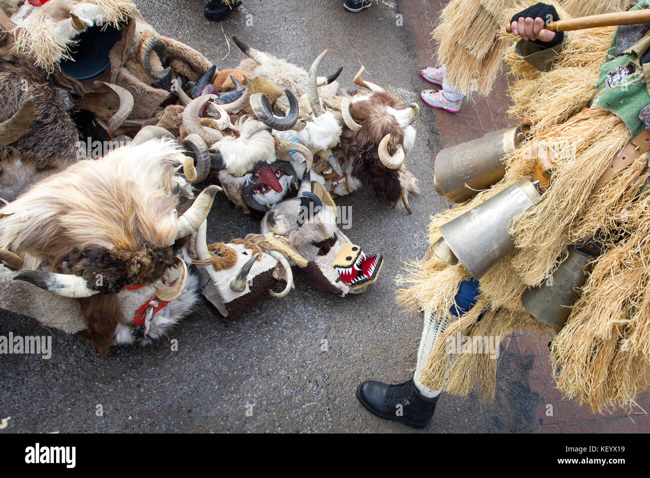 Masquerade players called 'Kukeri' during customary games in Bulgaria. - Stock Image