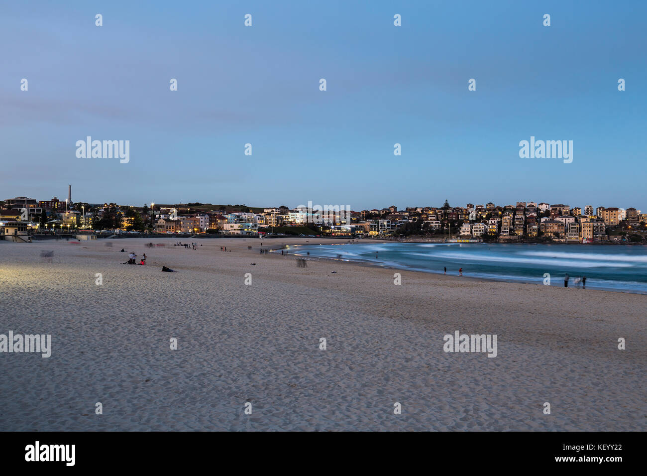 Bondi Beach early evening taken with a slow shutter speed to show movement on the ocean, Sydney, Australia. - Stock Image