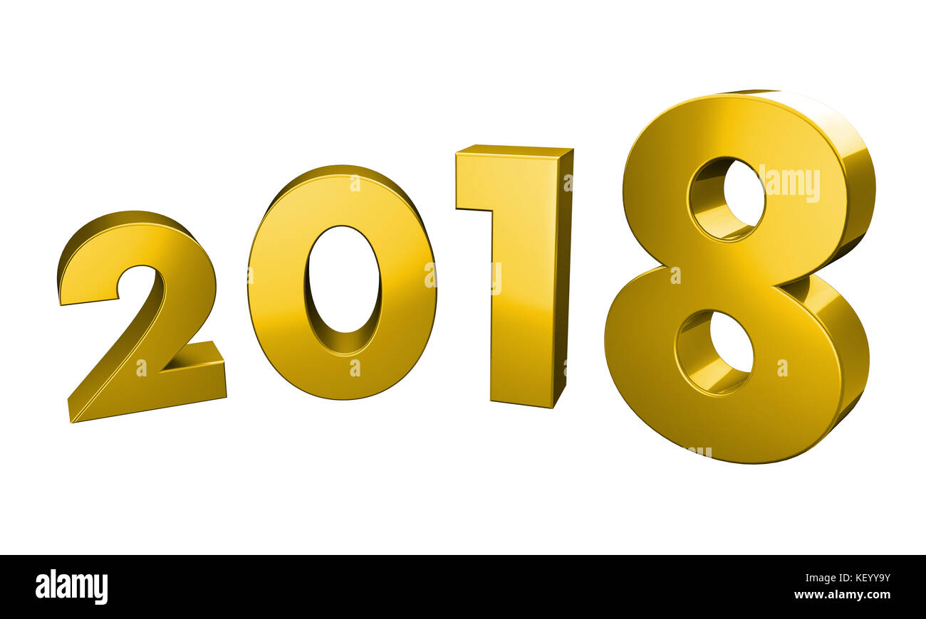 Three Dimensional Rendering of year 2018 in a curved form with clipping path included in the file for transparency, - Stock Image