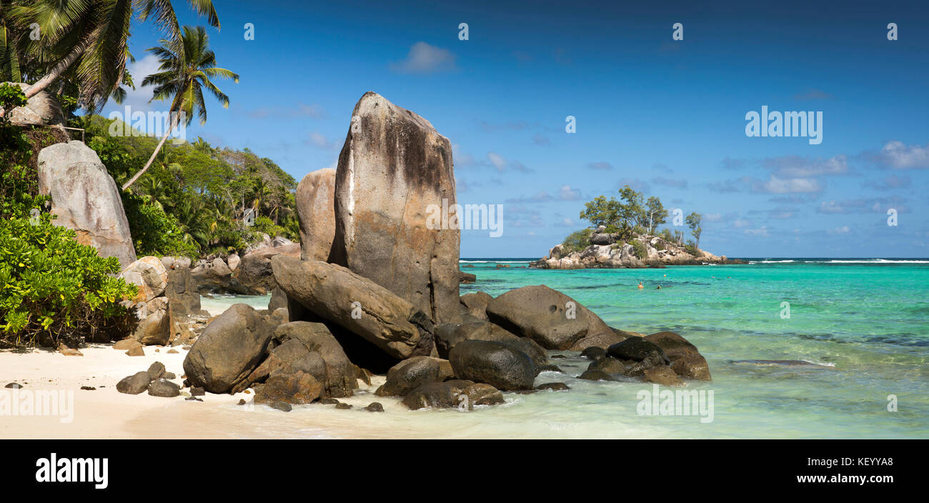 The Seychelles, Mahe, Anse Royale, Ile Souris, beach, granite rock formation panoramic - Stock Image