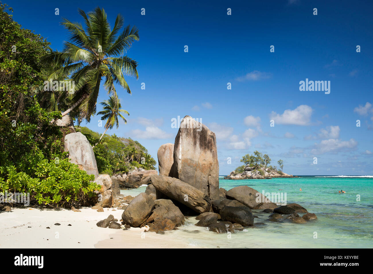 The Seychelles, Mahe, Anse Royale, Ile Souris, beach, granite rock formation sculpted by the sea - Stock Image