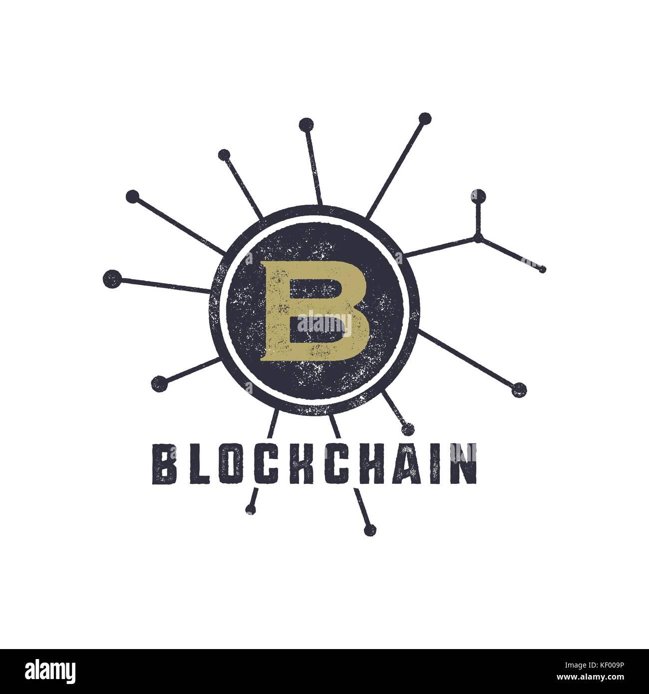 Blockchain emblem concept. Digital assets logo. Vintage han drawn monochrome design. Technology badge. Stock vector - Stock Image