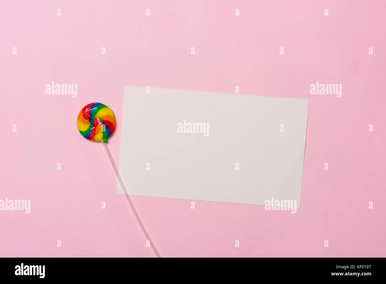 Birthday concept. Lollipop sweet caramel candy copy space - Stock Image