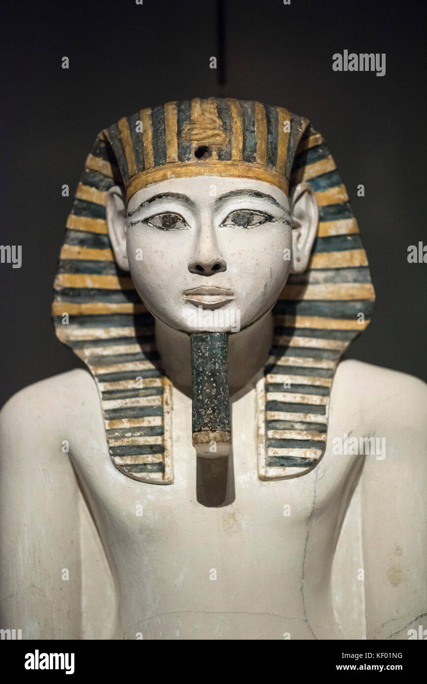 Turin. Italy. Cult statue of Egyptian Pharaoh Amenhotep I seated on a throne. New Kingdom, 19th Dynasty (1292-1190 - Stock Image