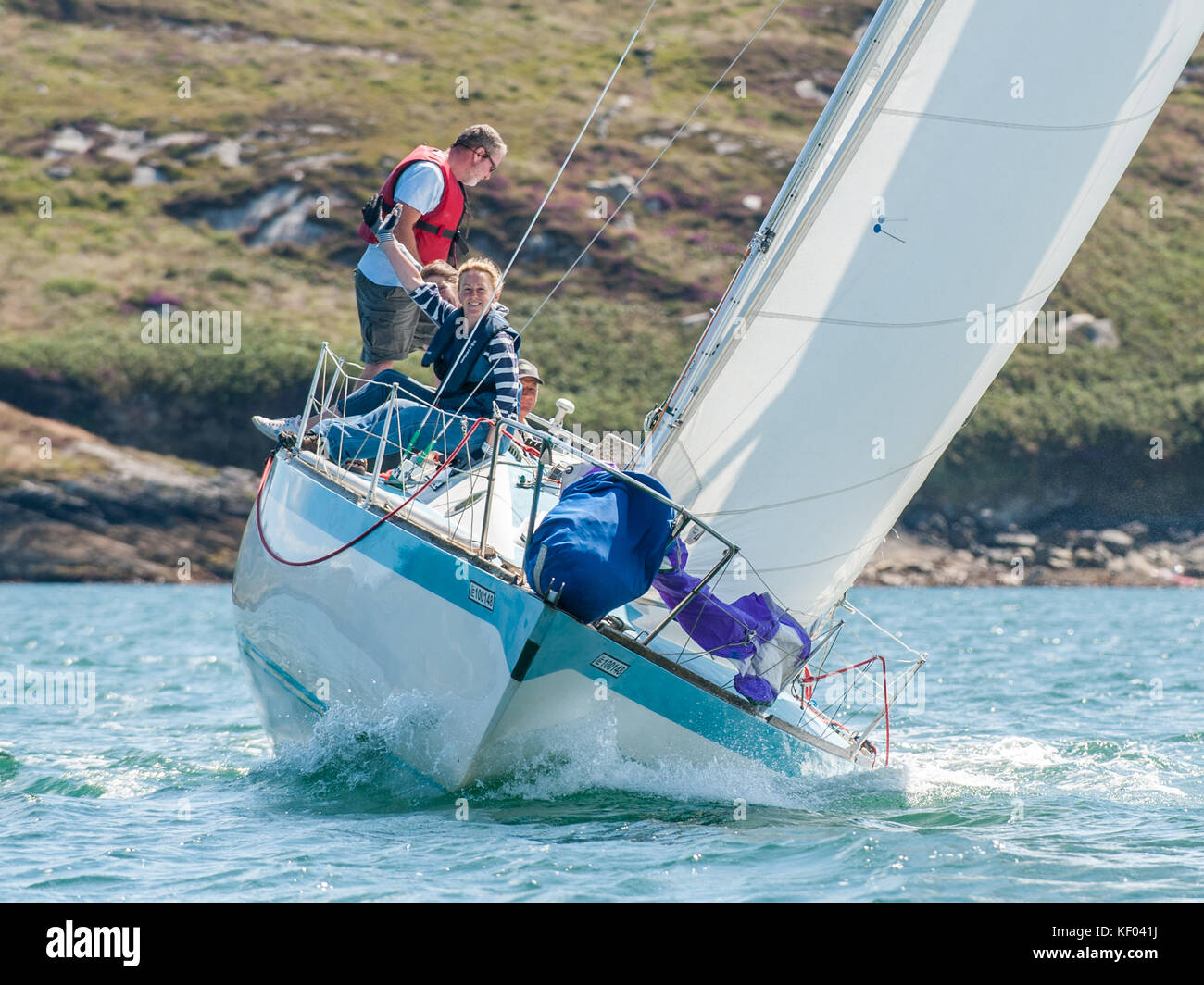 Sailing yacht 'Witchcraft' racing during the 2017 Schull Calves Week, Schull, West Cork, Ireland. Stock Photo