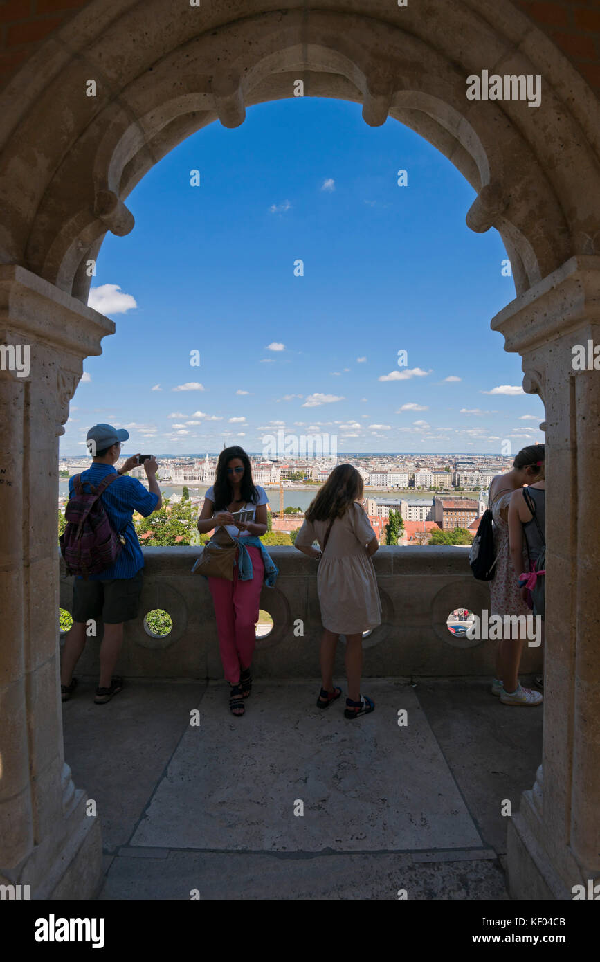 Vertical view of tourists admiring the view from the Fisherman's Bastion in Budapest. Stock Photo