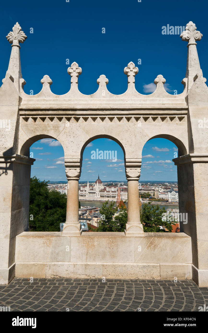Vertical view of the Fisherman's Bastion in Budapest. - Stock Image