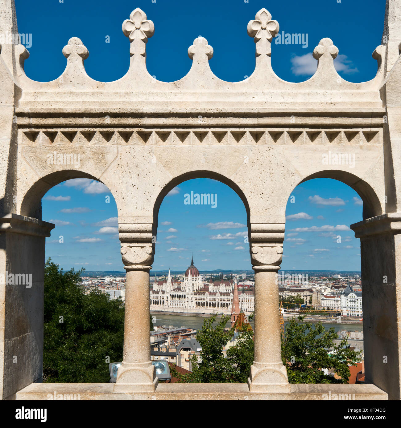 Square view of the Fisherman's Bastion in Budapest. Stock Photo