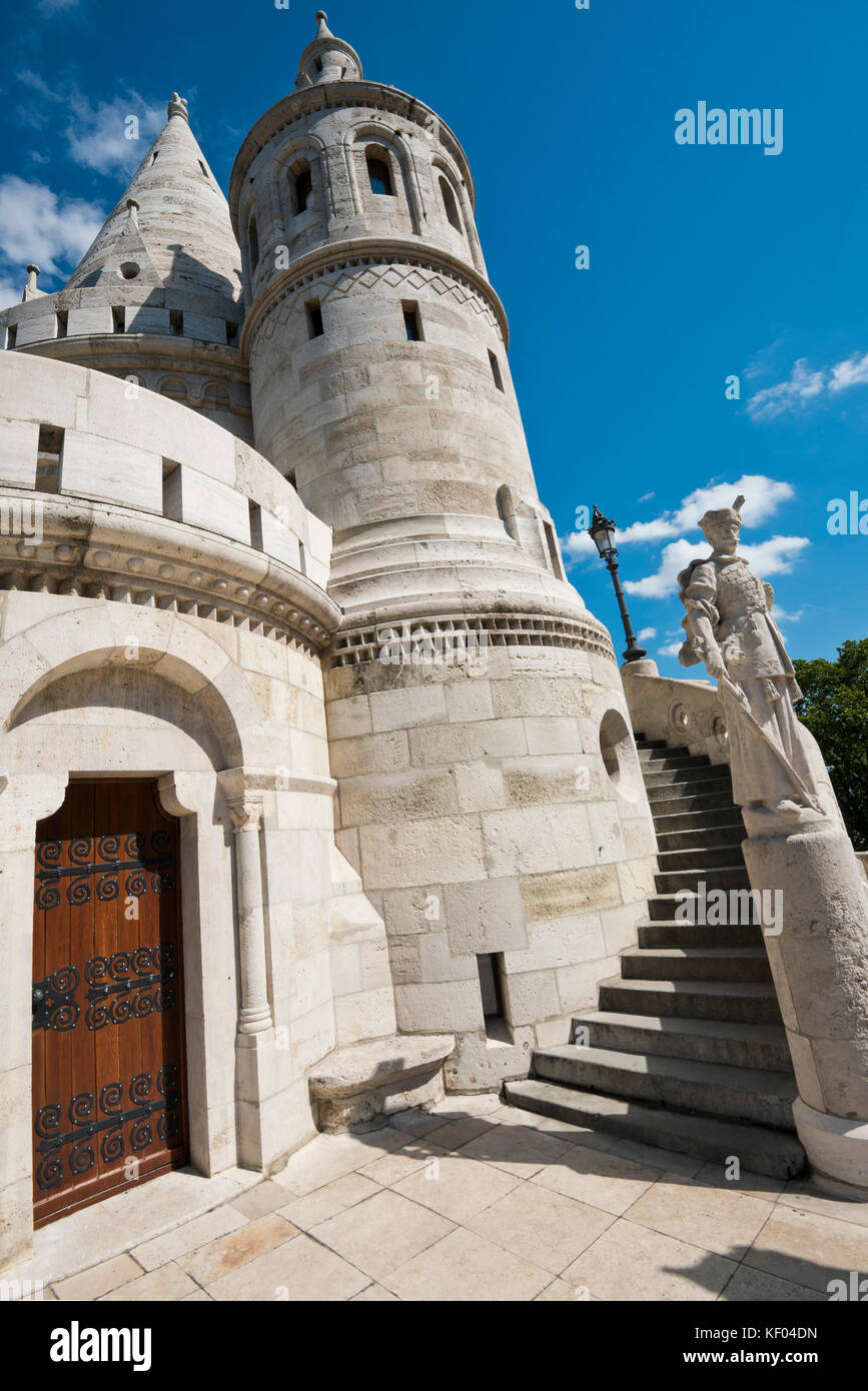 Vertical view of one of the turrets of the Fisherman's Bastion in Budapest. Stock Photo