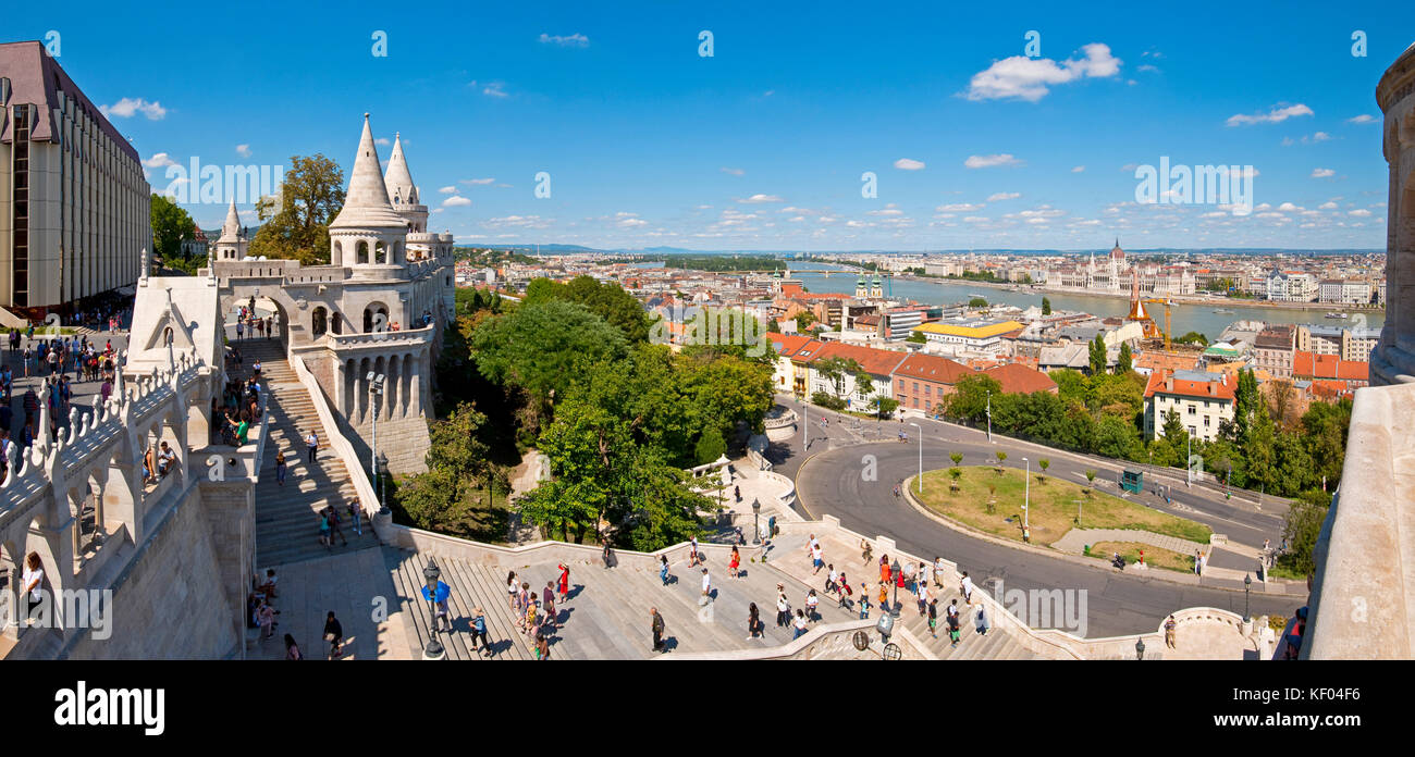 Horizontal panoramic of the Fisherman's Bastion in Budapest. - Stock Image