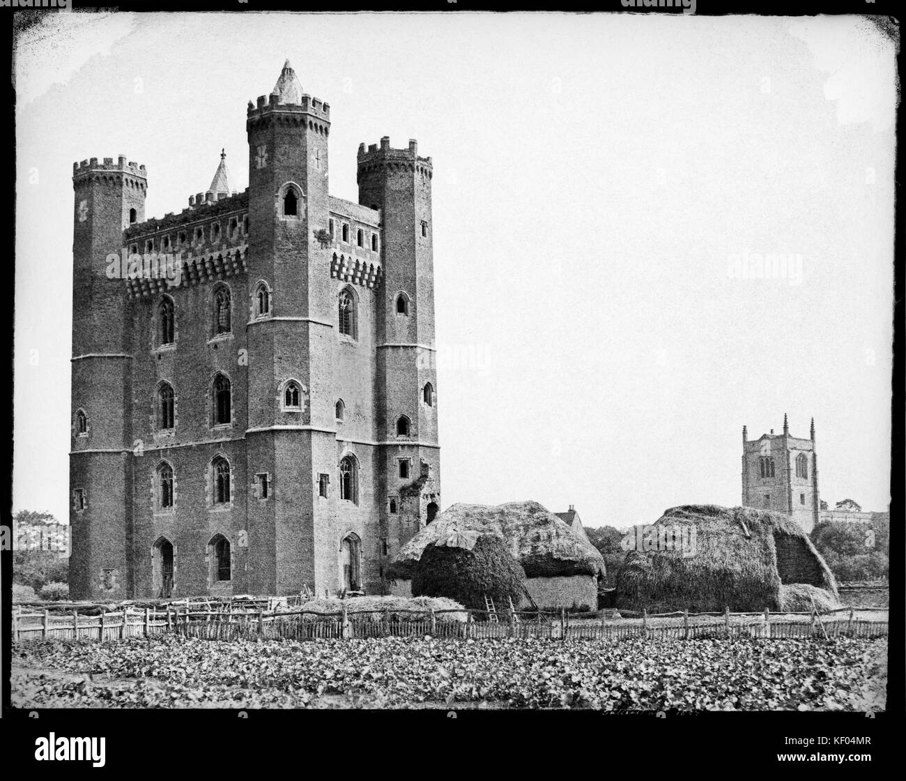Tattershall Castle, Tattershall, Lincolnshire, 1857. Attributed to Henry D Taylor (b 1814), paper negative. A rare - Stock Image