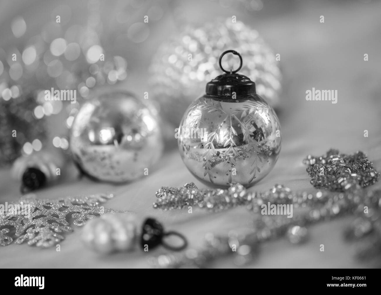 Antique Style Silver Christmas Baubles
