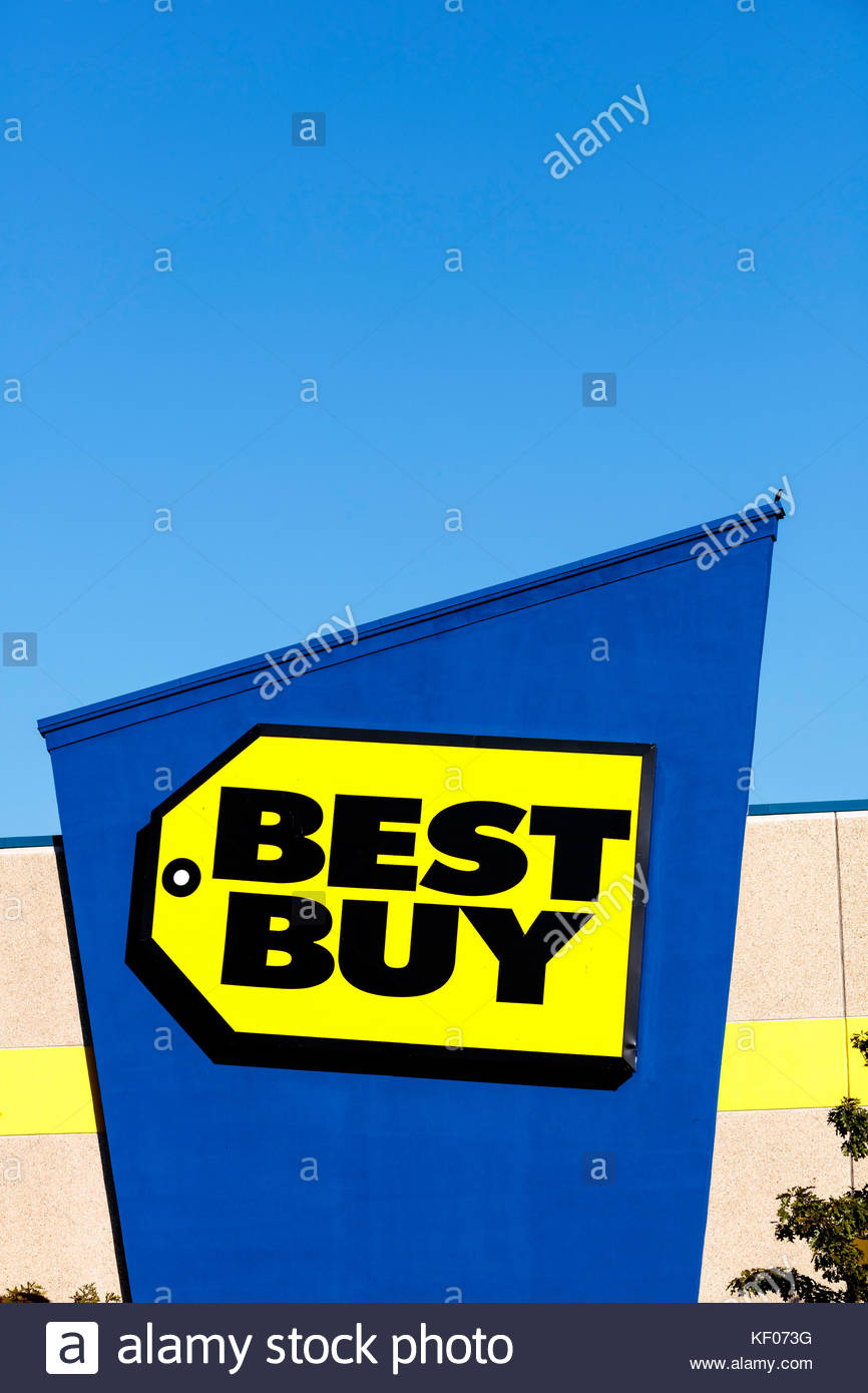 Best Buy electronics retailer sign Scarborough Town Centre shopping mall at the Scarborough Town Center in Toronto - Stock Image