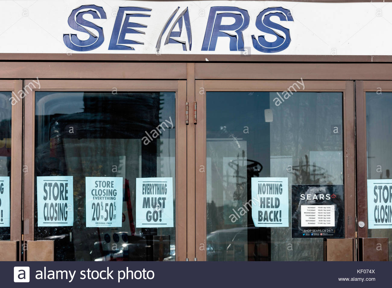 Bankrupt Sears Canada closing at the Scarborough Town Centre shopping mall in Toronto Ontario Canada - Stock Image