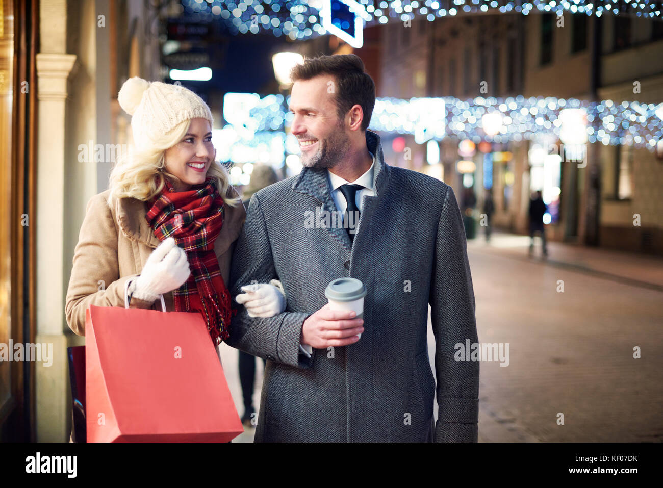 A Christmas Spirit.Christmas Spirit Shopping Is In Town Stock Photo 164119023
