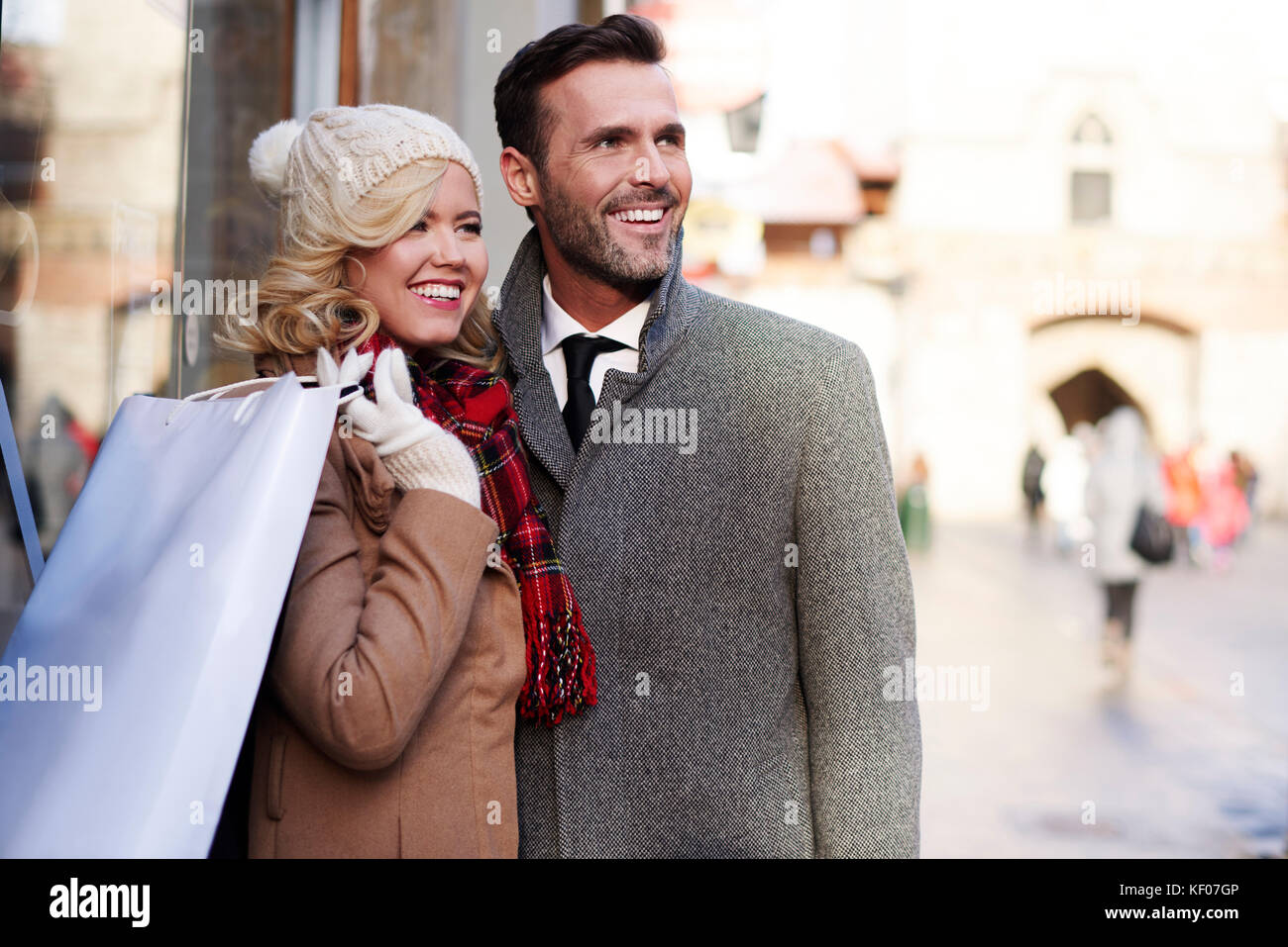 Couple spending time together on shopping - Stock Image