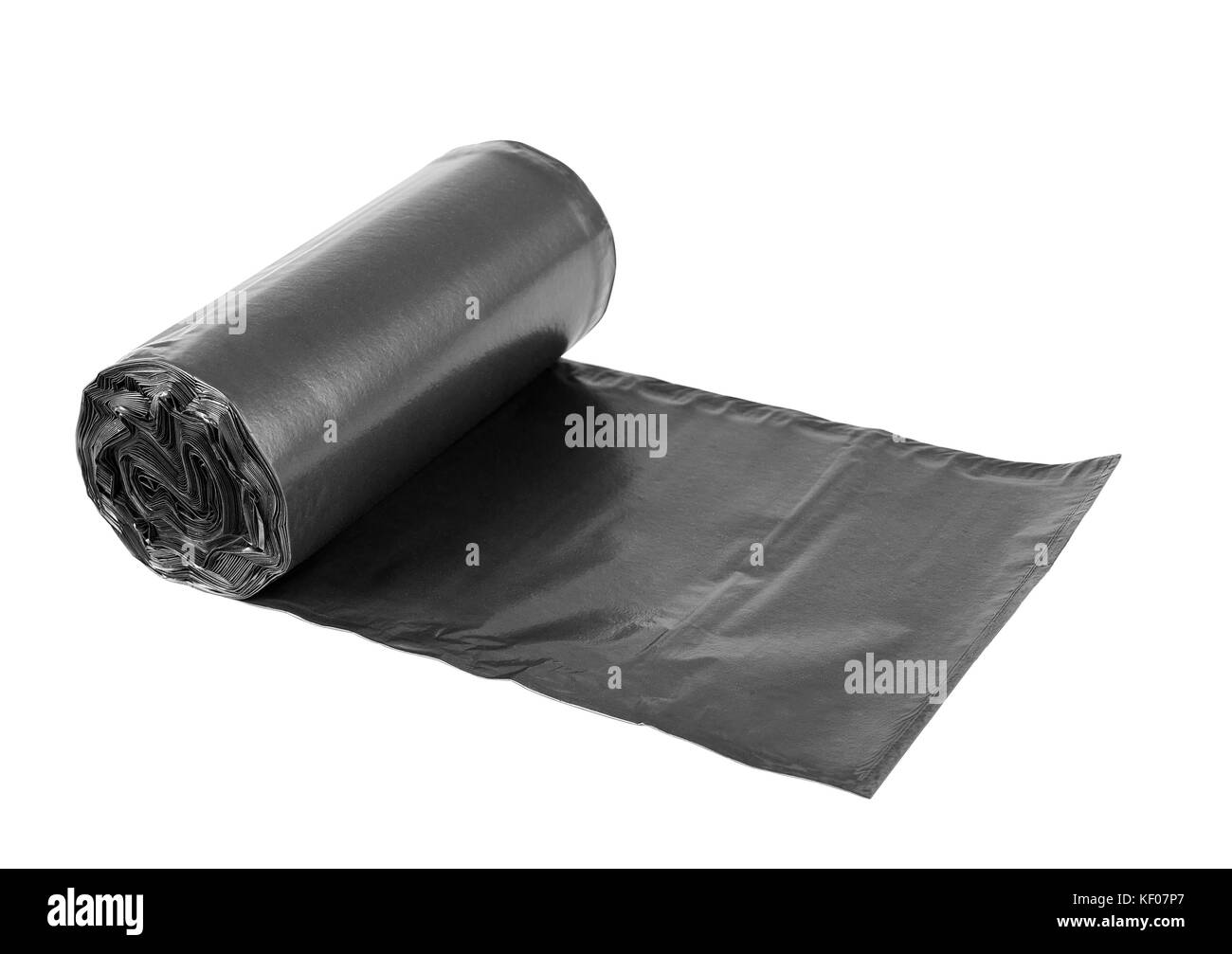 Rolls  of disposable trash bags isolated over white background - Stock Image