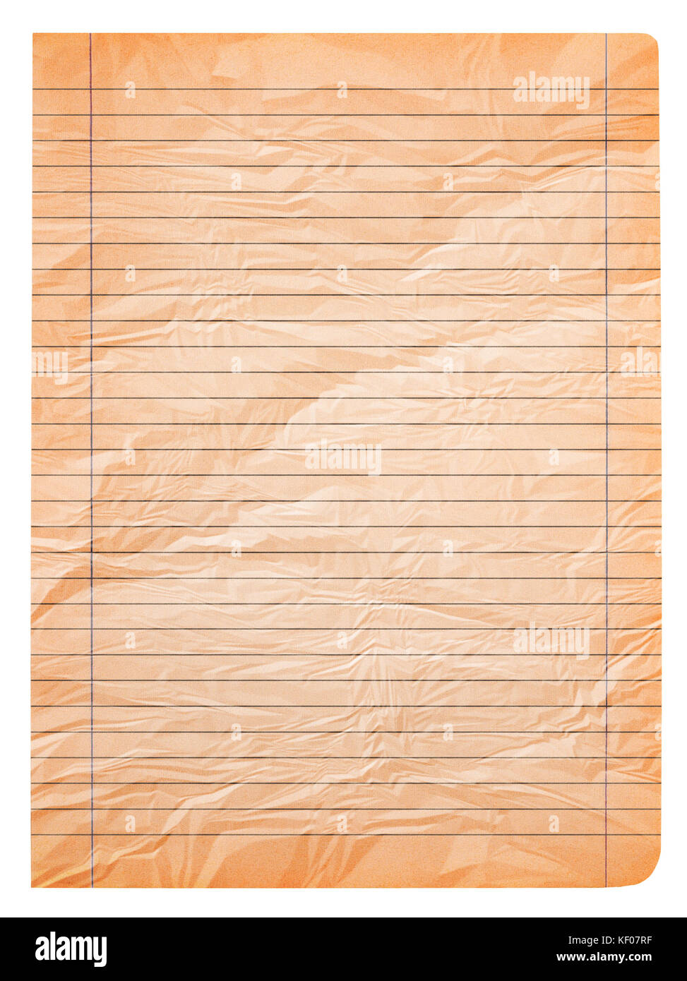 old wrinkled page of notebook paper stock image