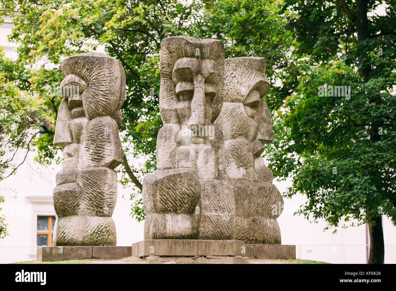 Vilnius, Lithuania. Symbols Of Deities From Paganism Stone Cult Image, Idols Near National Museum Of Lithuania. - Stock Image