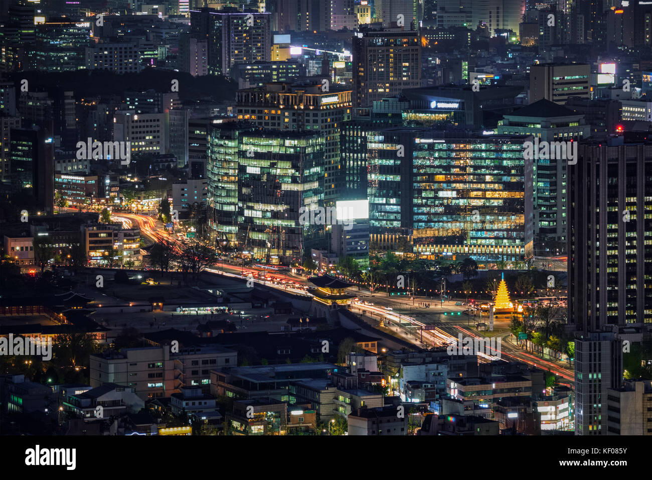 Seoul skyscrapers in the night, South Korea. - Stock Image