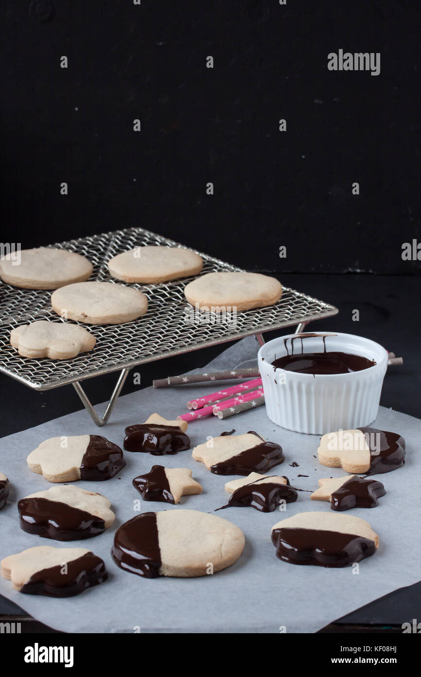 cookies with melted chocolate - Stock Image