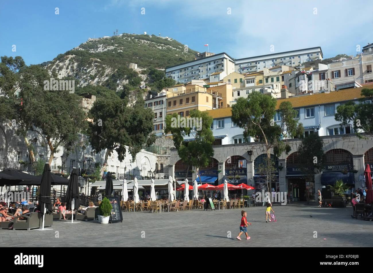 Grand Casemates Square, looking northeast towards the rock, Gibraltar, September 2017 - Stock Image