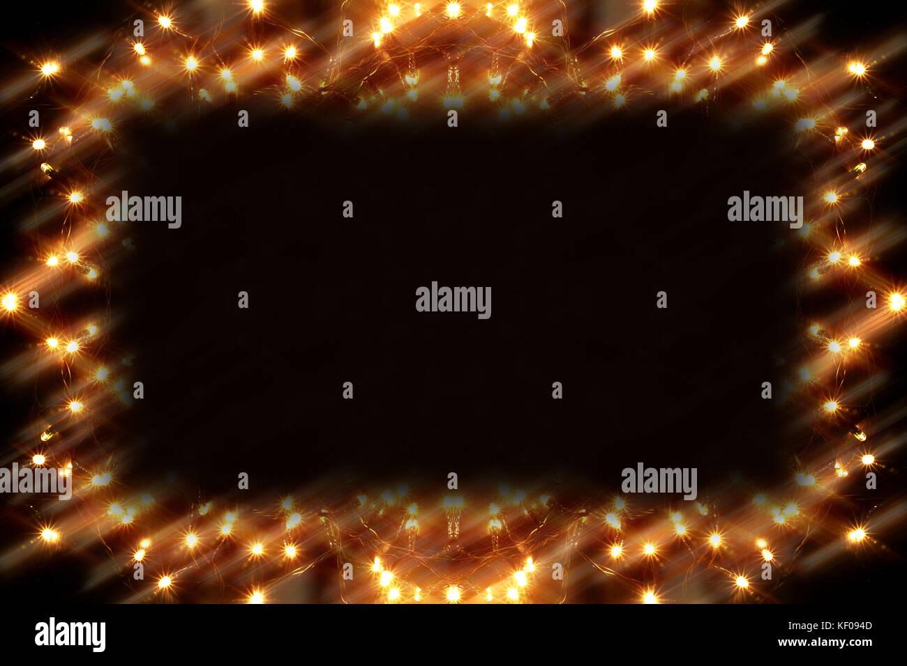 Christmas Lights on Black Background - Stock Image