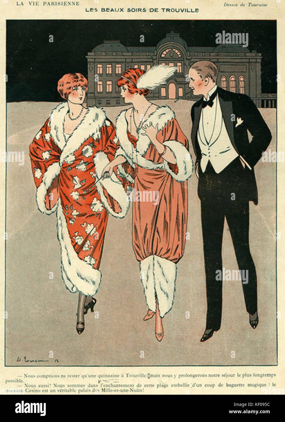 La Vie Parisienne 1912 1910s France Touraine illustrations mens womens hats dresses evening dress tuxedos eveningwear - Stock Image