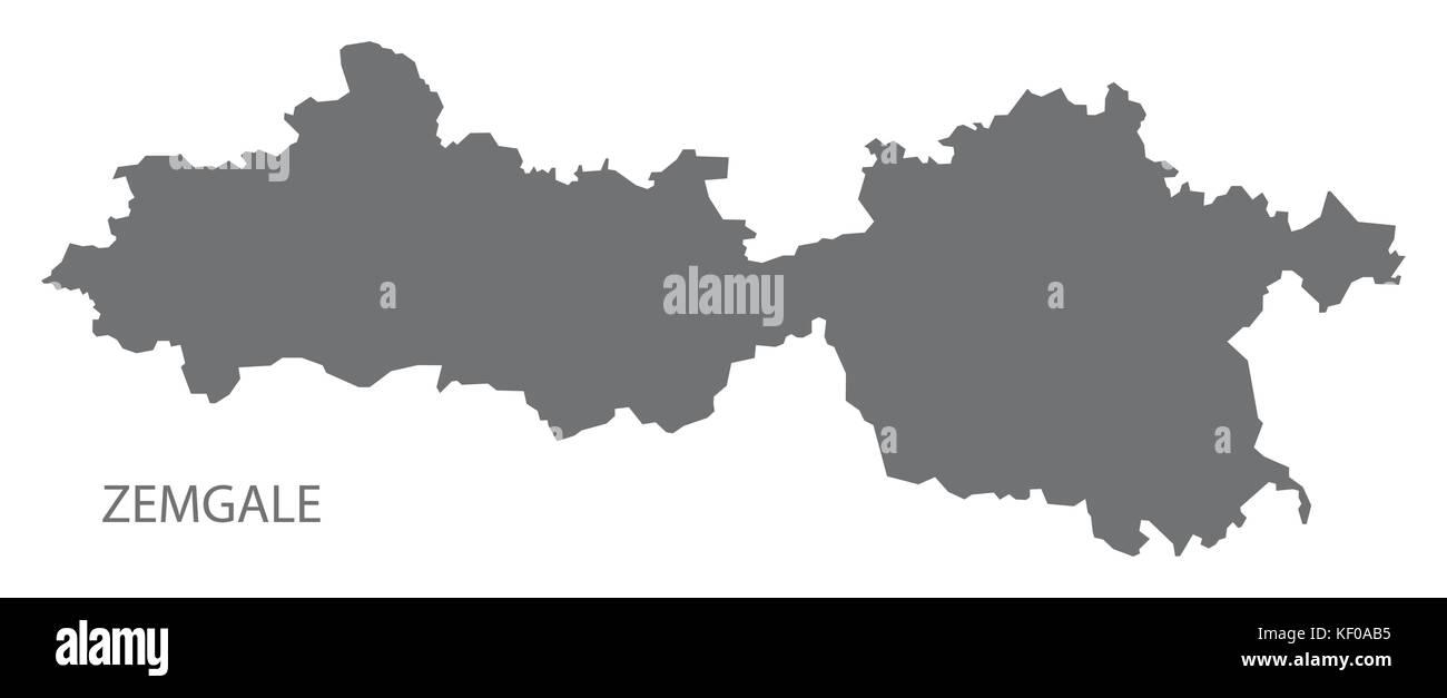 Zemgale administrative division map of Latvia grey illustration silhouette shape - Stock Image