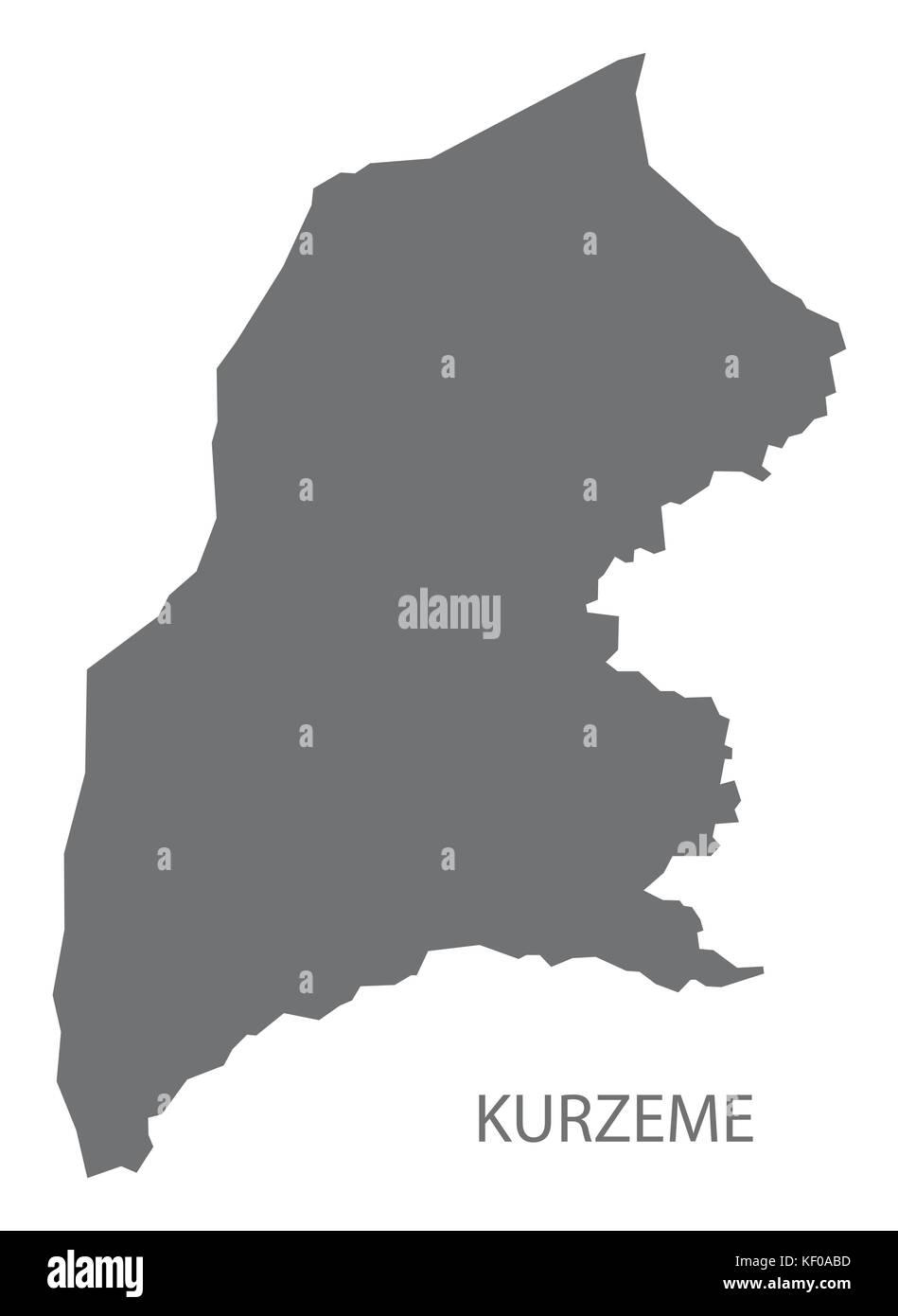 Kurzeme administrative division map of Latvia grey illustration silhouette shape - Stock Image