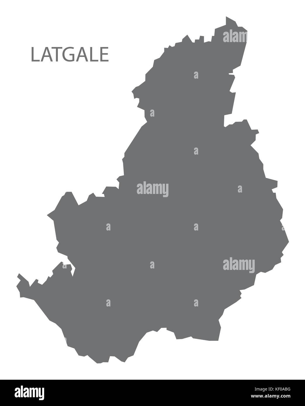 Latgale administrative division map of Latvia grey illustration silhouette shape - Stock Image