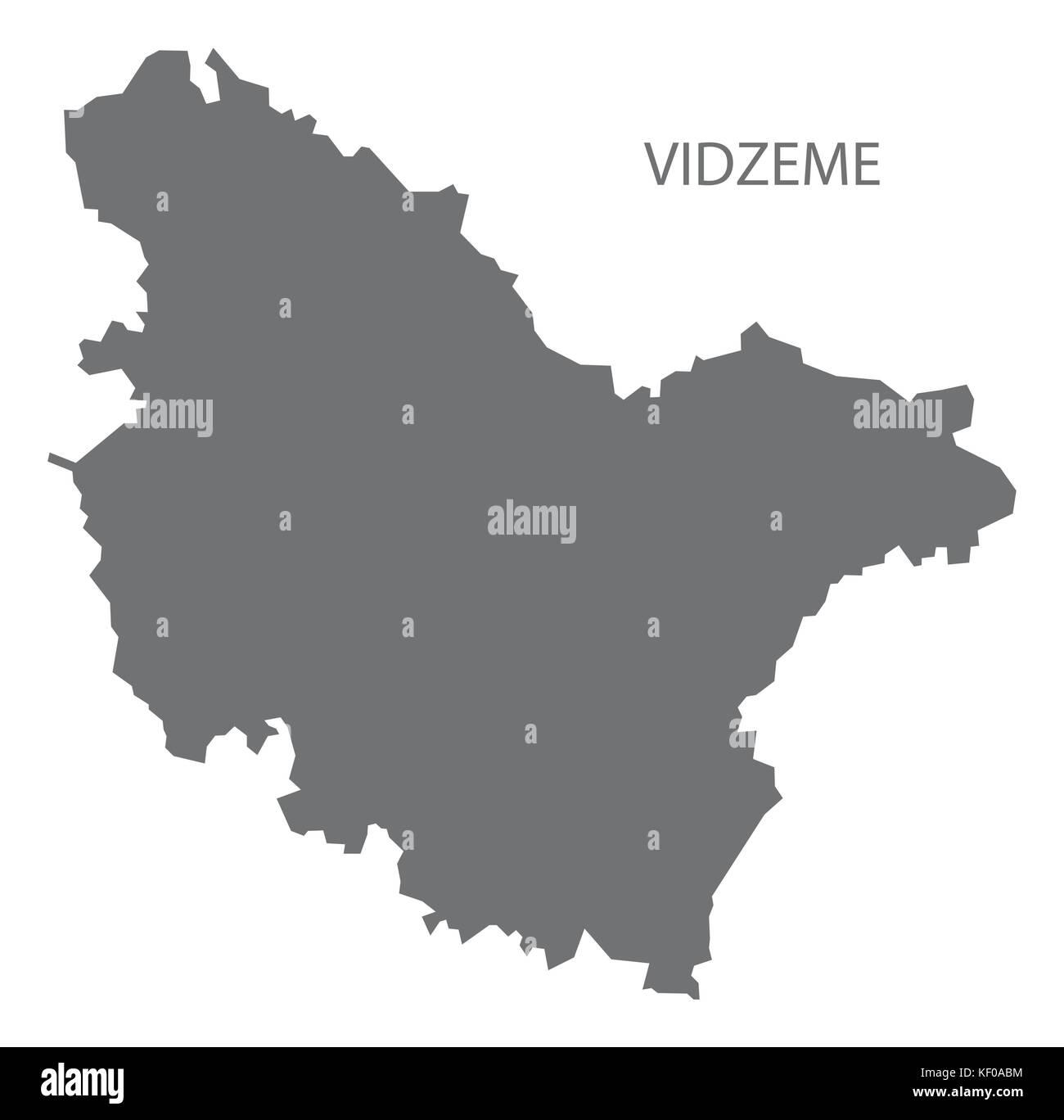 Vidzeme administrative division map of Latvia grey illustration silhouette shape - Stock Image