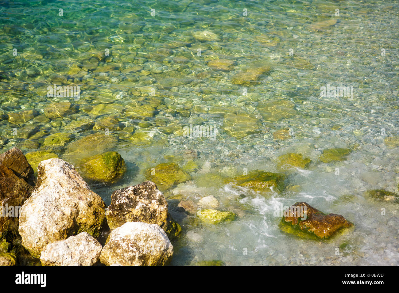 Aerial view of stones on bottom of Adriatic Sea - Stock Image