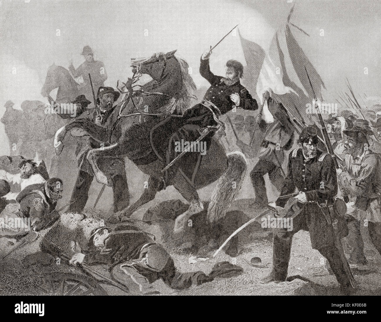 The Battle of Wilson's Creek, aka the Battle of Oak Hills, 1861, the first major battle of the Trans-Mississippi - Stock Image