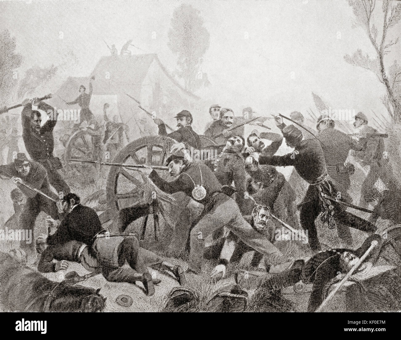 The Battle of Shiloh, aka the Battle of Pittsburg Landing,1862, a major battle in the Western Theater of the American - Stock Image