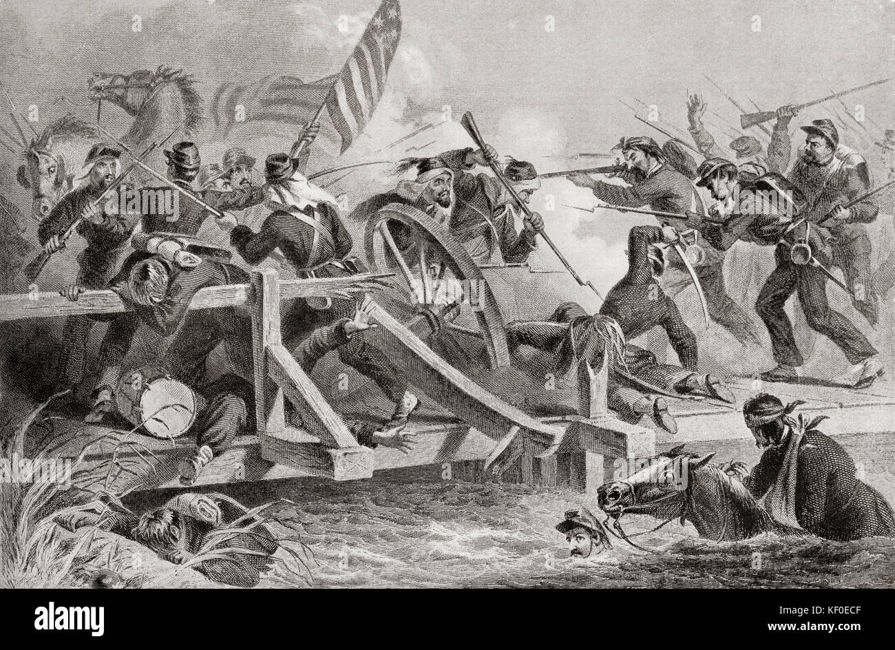 The retreat by Union Forces after the Battle of Bull Run, aka the Battle of First Manassas, July 21, 1861 during - Stock Image