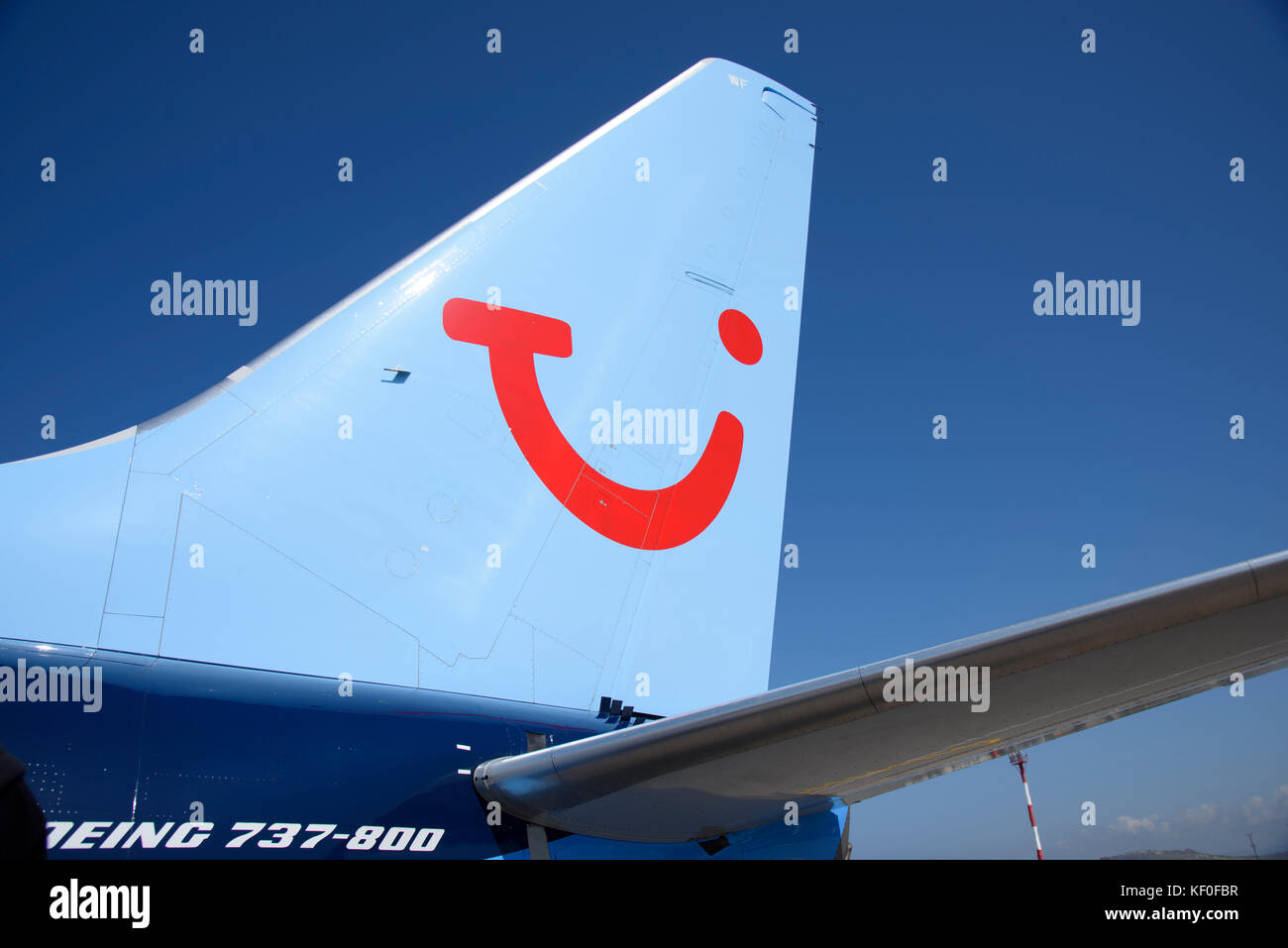 A Boeing 737-800 airplane at Heraklion Airport, Crete, Greece. - Stock Image
