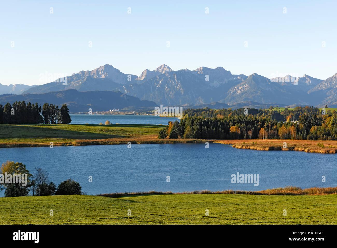 Illasbergsee und Forggensee, OstallgŠu, AllgŠu, Schwaben, Bayern, Deutschland Stock Photo
