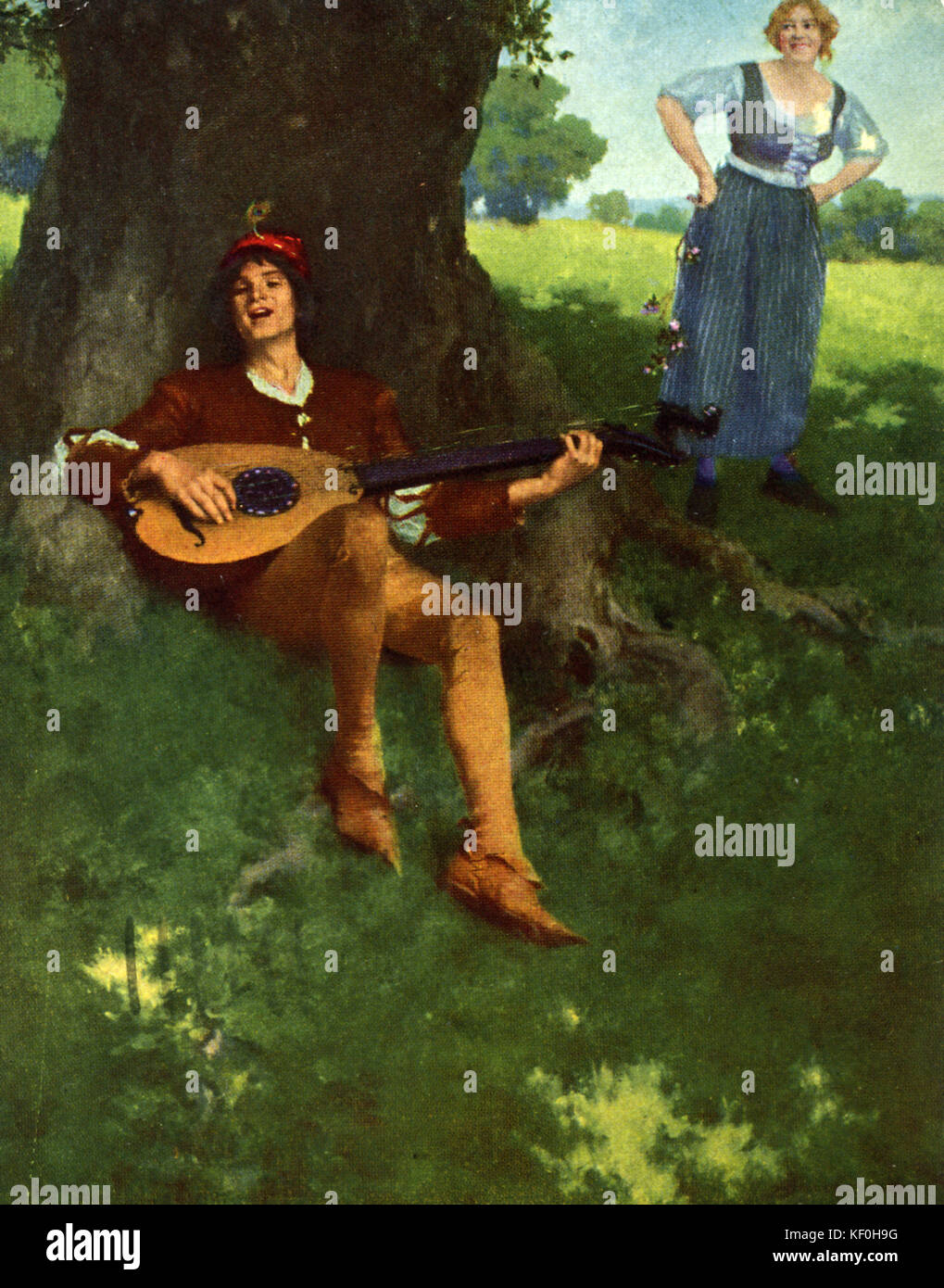 Under the Greenwood tree.  Minstrel with a lute serenades a women in a rural setting.  Caption: 'Under the Greenwood - Stock Image