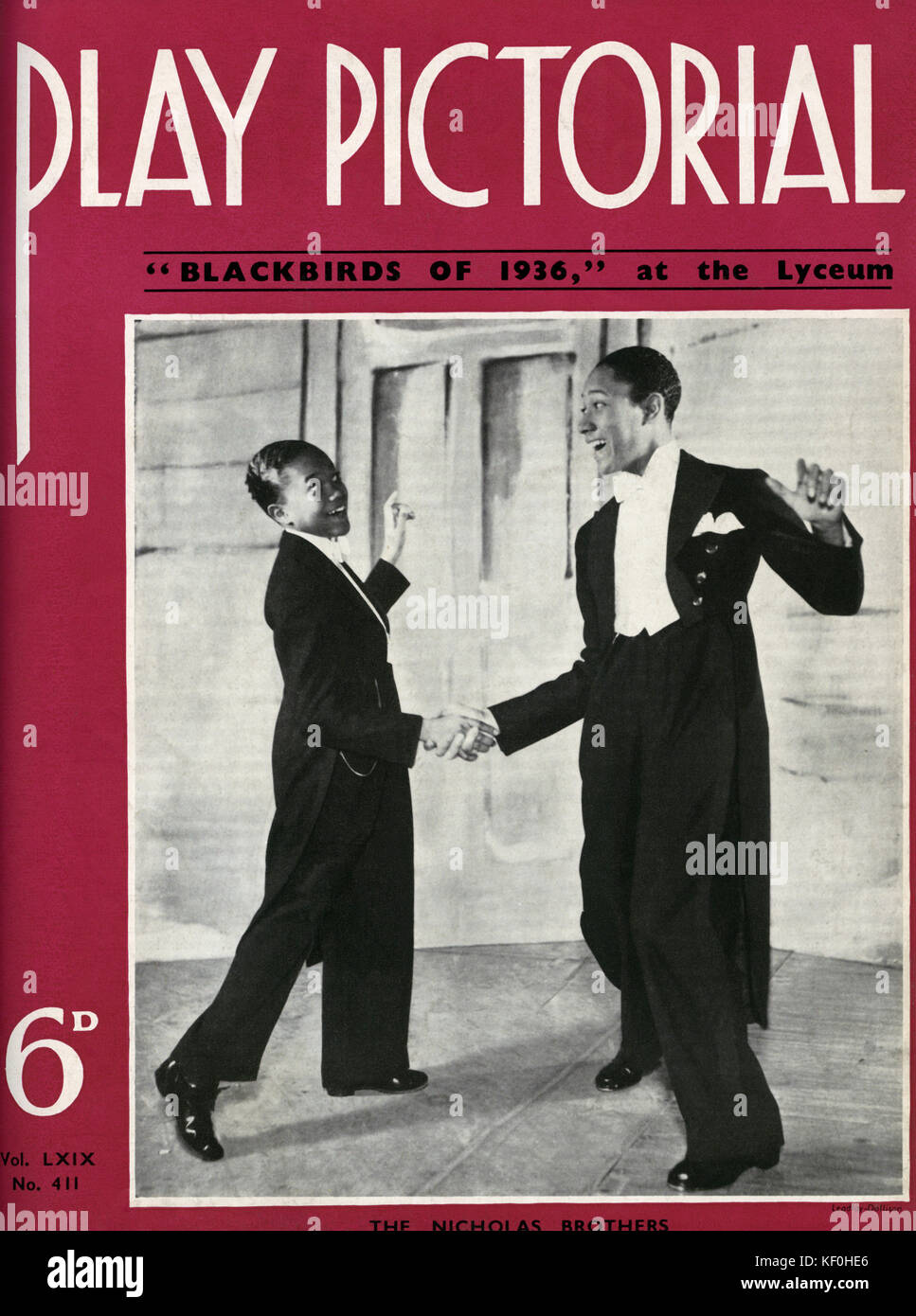 The Nicholas Brothers in Lew Leslie 's 'Blackbirds of 1936', the Lyceum Theatre, London.  Cover of 'Play Pictorial'. Stock Photo