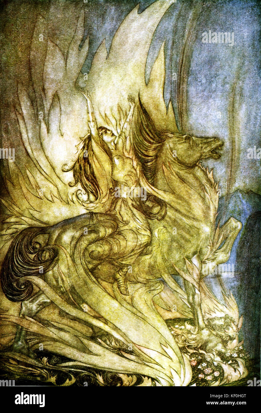 The Twilight of the Gods / Göttterdämmerung by Richard Wagner. Brünnhilde immolates herself by riding - Stock Image