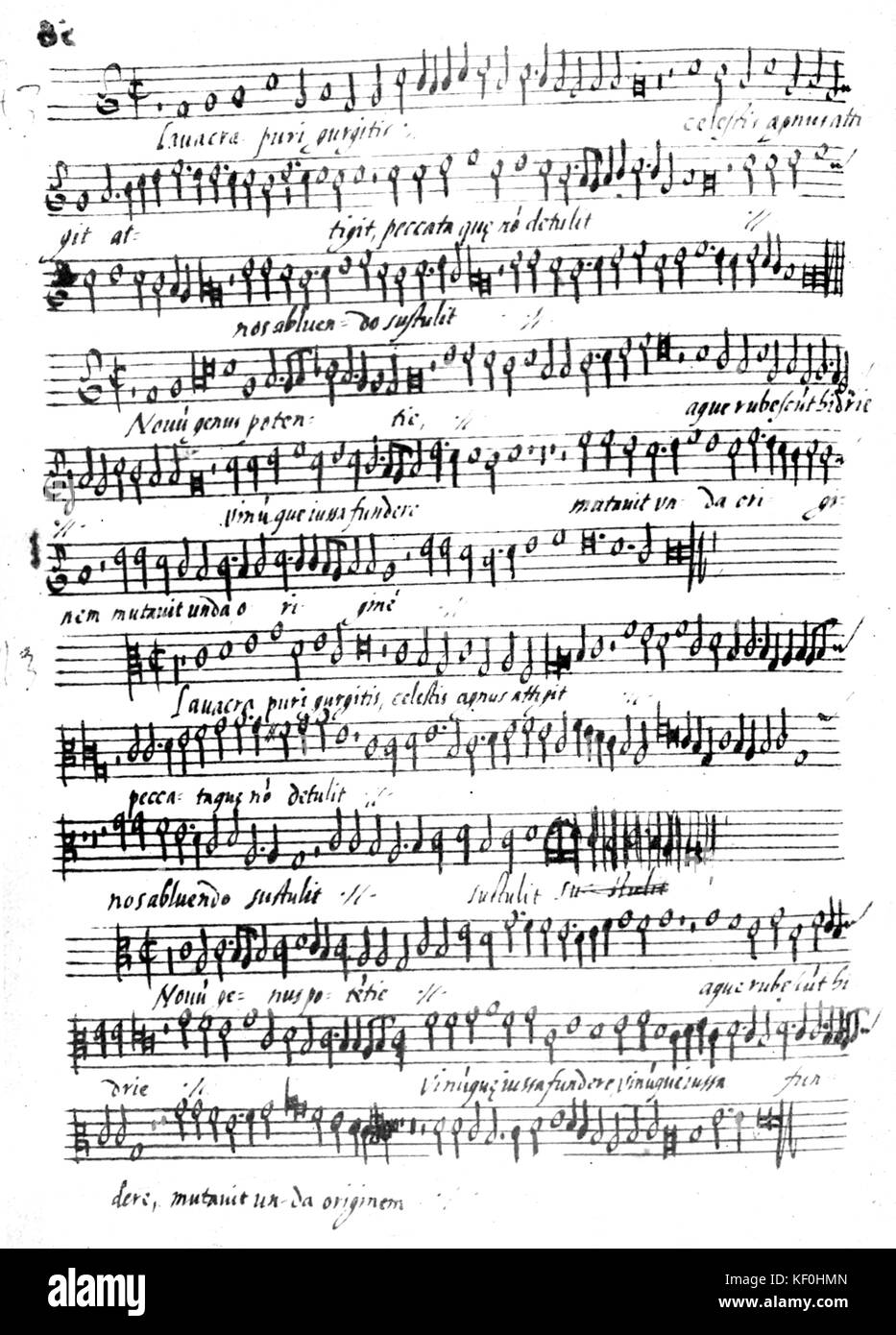 Music written in Palestrina 's hand.  Giovanni Pierluigi da Palestrina Italian composer 3 February 1525 - 2 - Stock Image