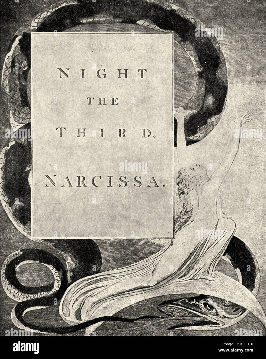 'Night The Third, Narcissa', title-page to  William Blake 's 'Night Thoughts'. English poet, - Stock Image
