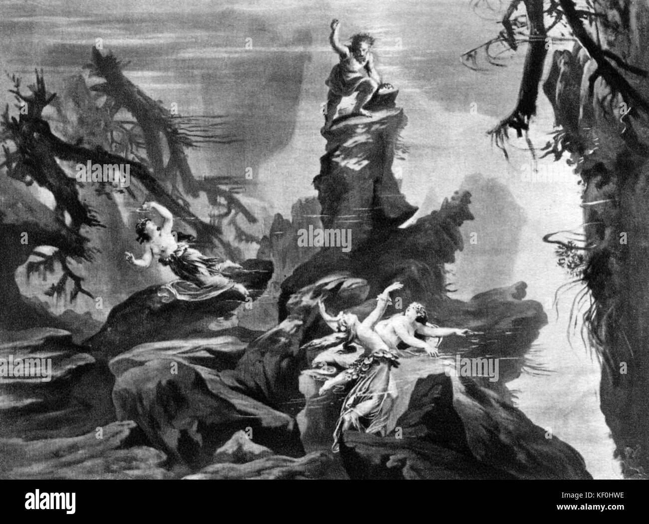 The Rhinegold / Das Rheingold by Richard Wagner. Set design by Josef Hoffmann.  Caption:  In the depth of the Rhine. - Stock Image