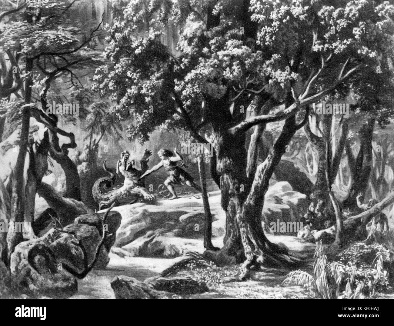 Siegfried  by Richard Wagner. Set design by Josef Hoffmann.  Caption: In the depths of the forest at Fafner's - Stock Image